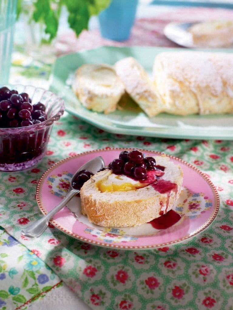 Lemon and lavender meringue roulade with blueberries