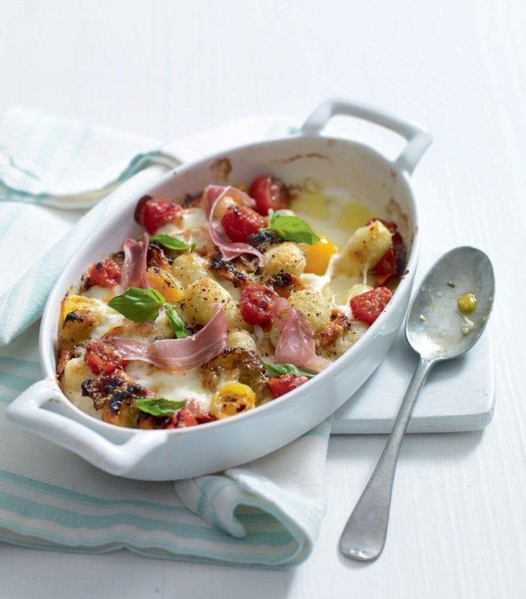 Cheesy gnocchi with parma ham