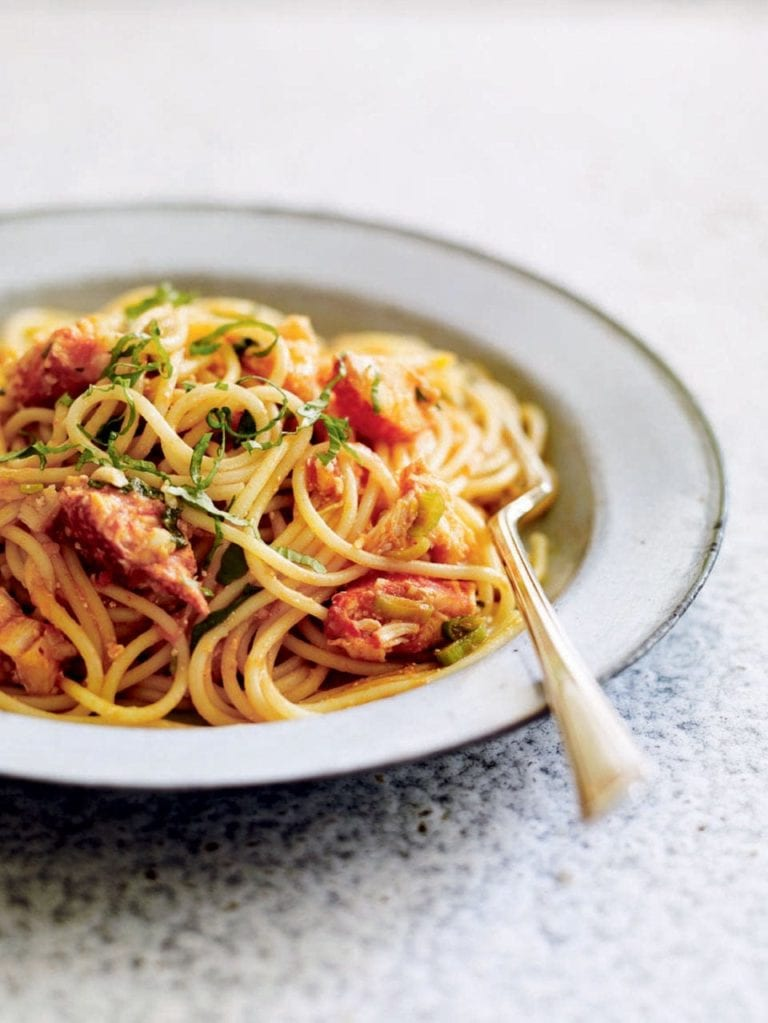 Lobster spaghetti with tomato ginger and basil