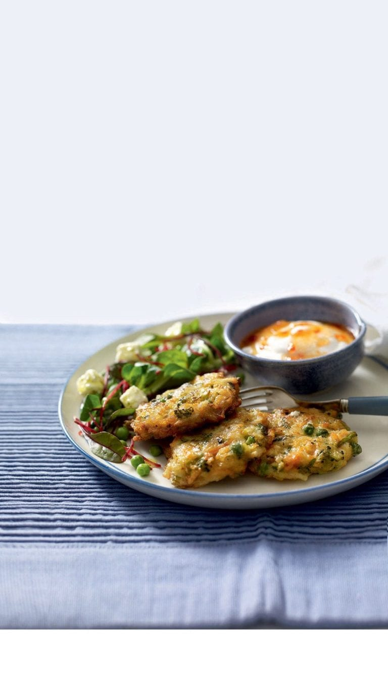 Courgette, pea and feta fritters with beetroot salad