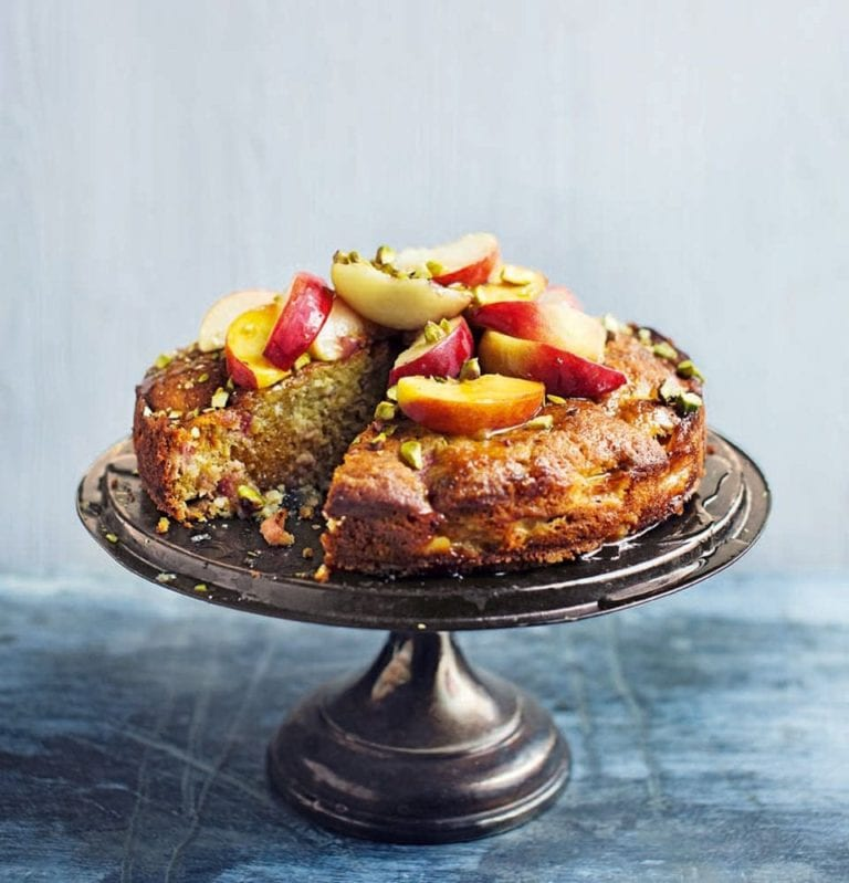 Warm peach, pistachio and honey cake