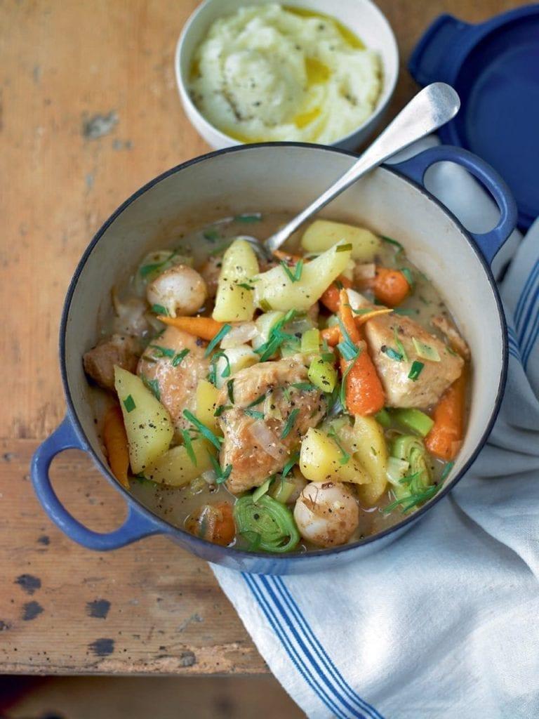 Chicken, apple and cider stew