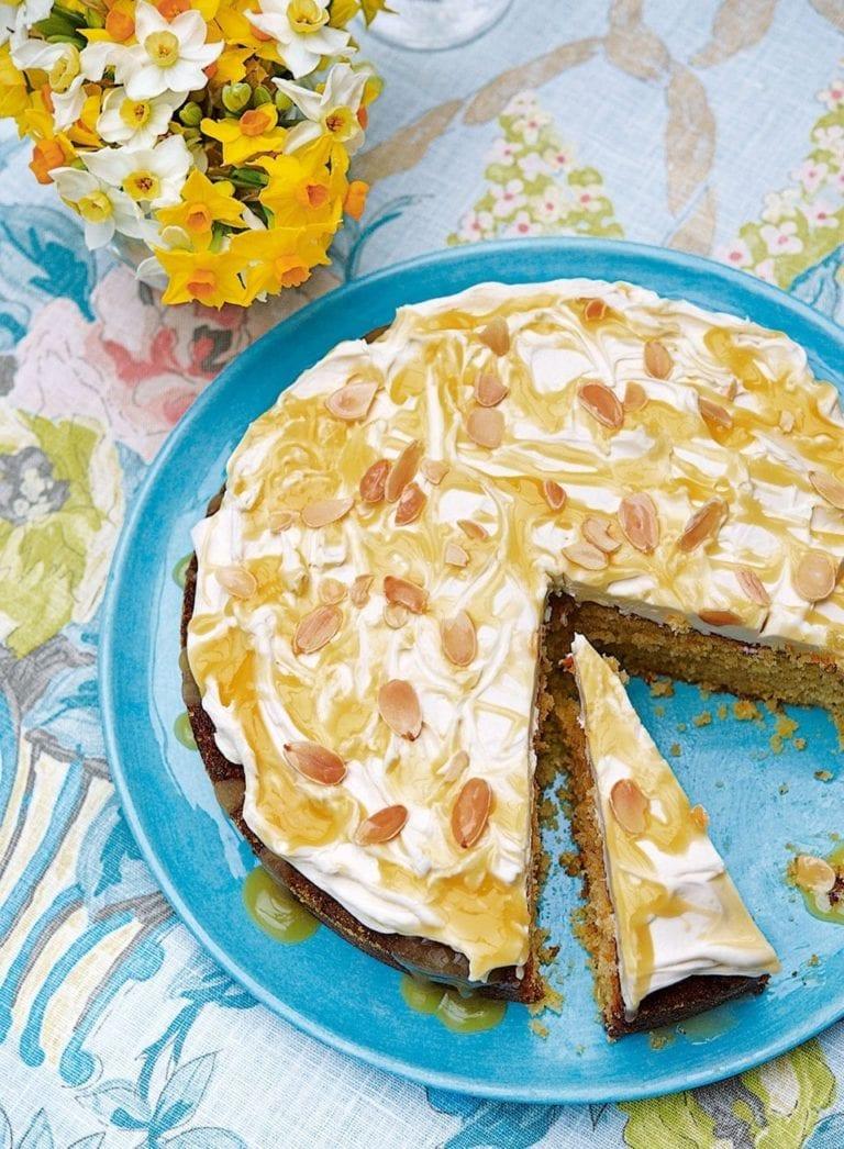 Lemon polenta cake with mascarpone and lemon curd
