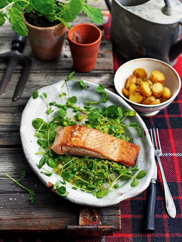 Pan-fried sea trout with watercress, pea shoots and mint sauce