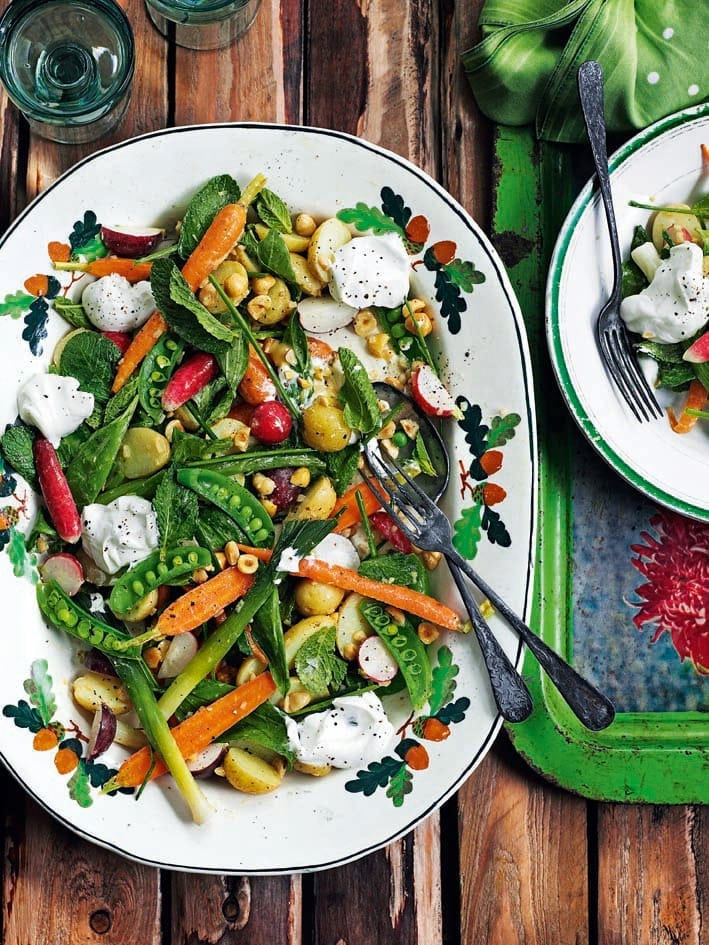 Warm baby veg salad with goat's curd and sherry vinaigrette