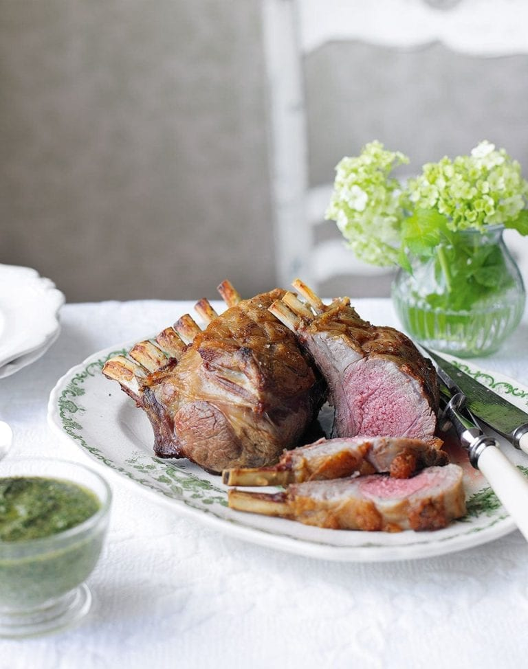 Rack of lamb with salsa verde