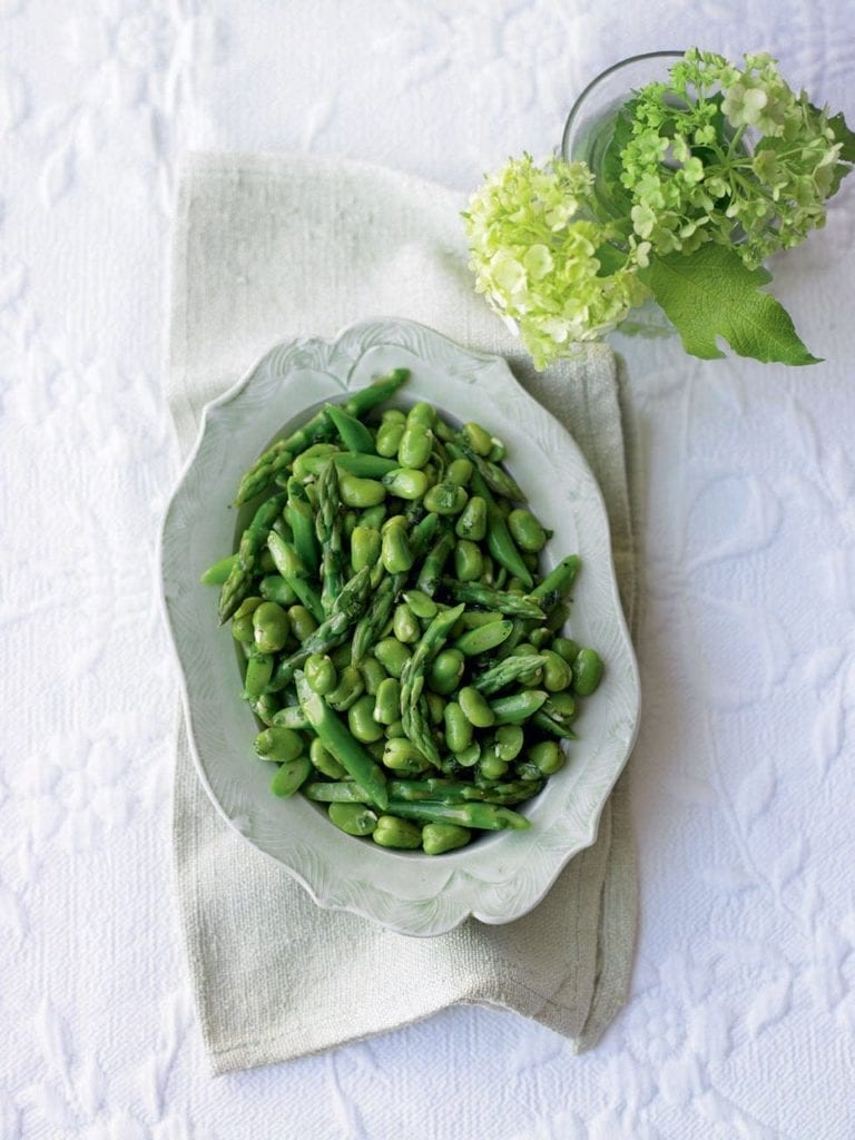 Asparagus and broad beans