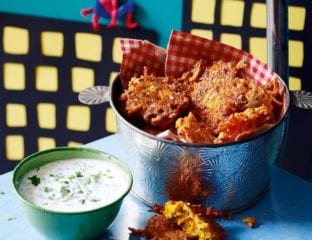 Carrot and ginger bhajis with coriander dip