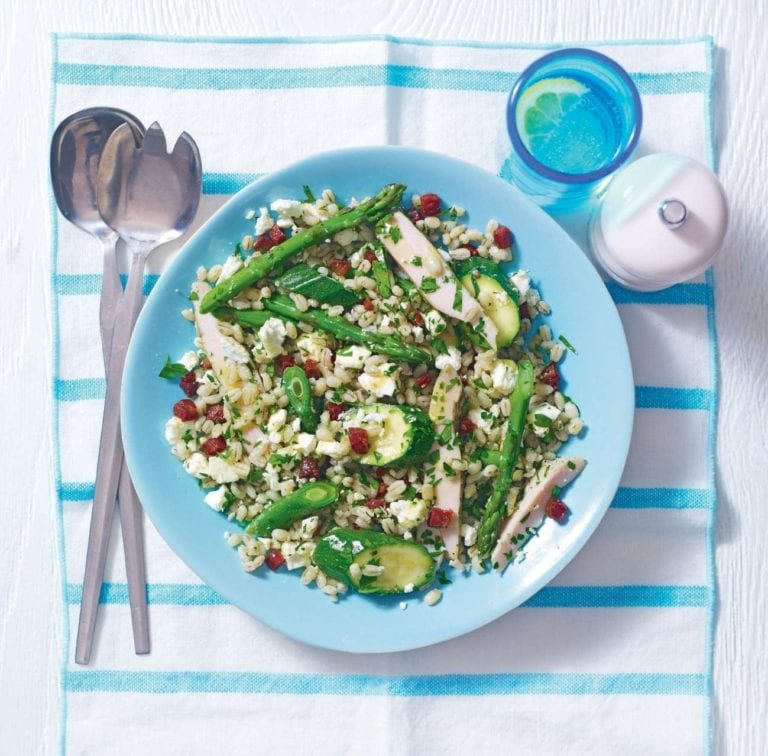 Quick smoked chicken and barley salad with chorizo and feta