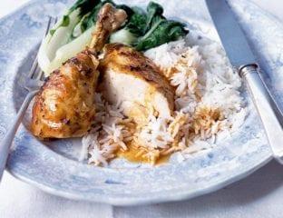 Oriental roast chicken with coconut gravy