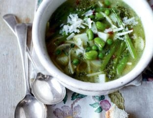 Spring vegetable minestrone with broken spaghetti