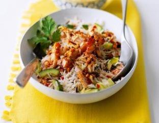 Yogurt and harissa chicken and rice salad