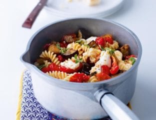 Roast aubergine, tomato and mozzarella pasta