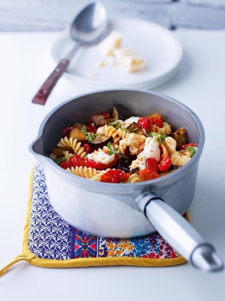 Roast aubergine, tomato and mozzarella pasta