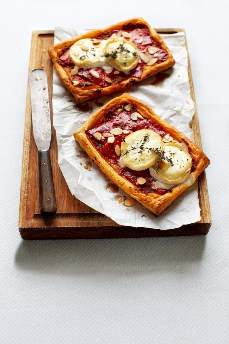 Cheat's red pepper and goat's cheese tarts