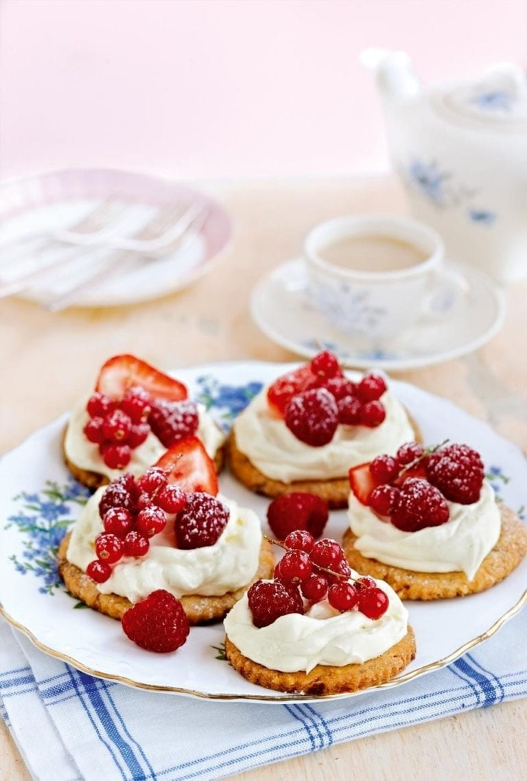 Summer berry shortbread tarts with rose cream