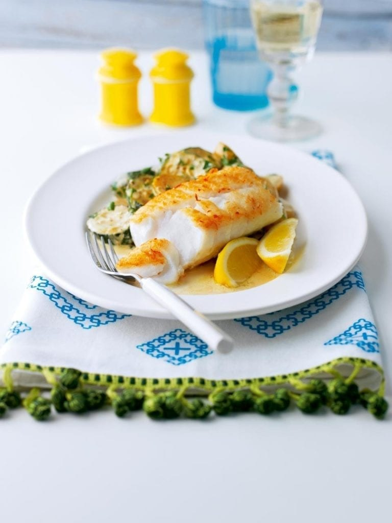 Pan Fried Cod With Creamy New Potatoes And Courgettes Recipe Delicious Magazine