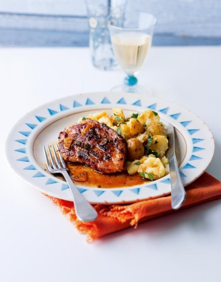 Lemony lamb chops with crushed new potatoes