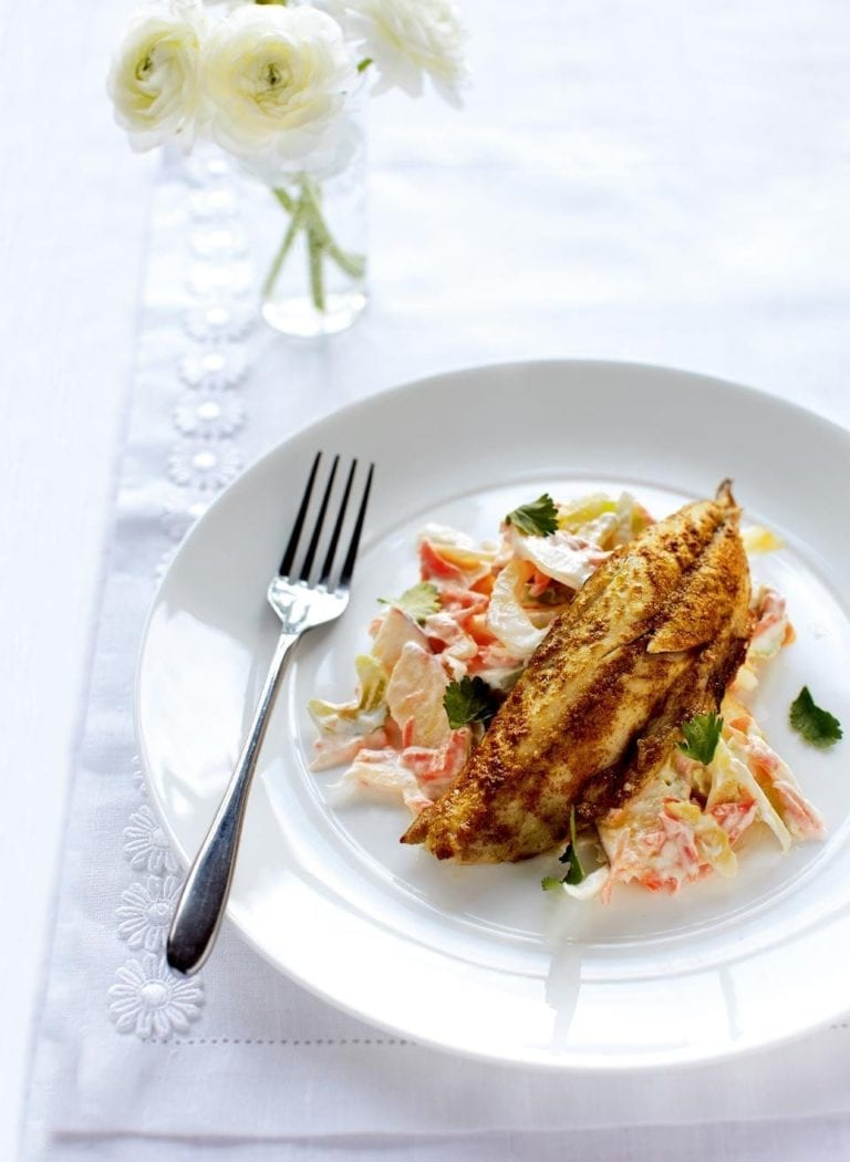 Spicy grilled mackerel with fennel coleslaw