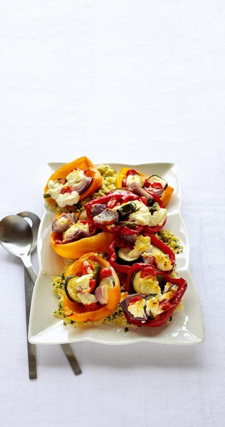 Roasted peppers with herb couscous