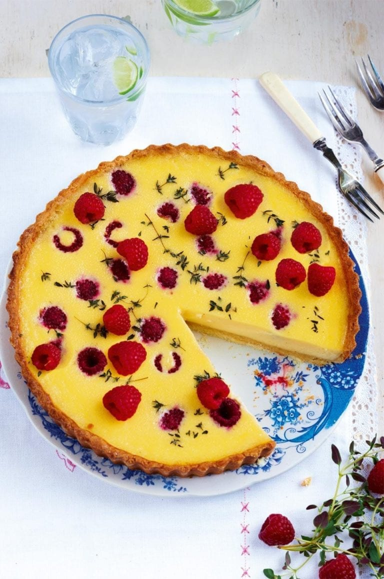 Raspberry and thyme custard tart