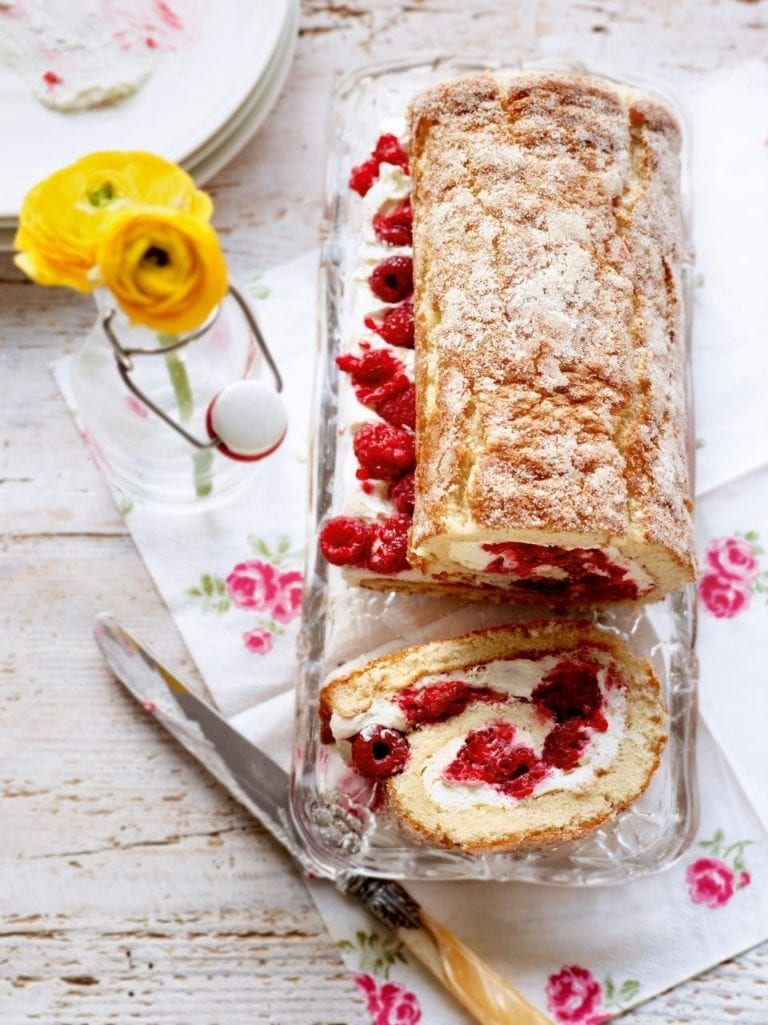 White chocolate and raspberry swiss roll