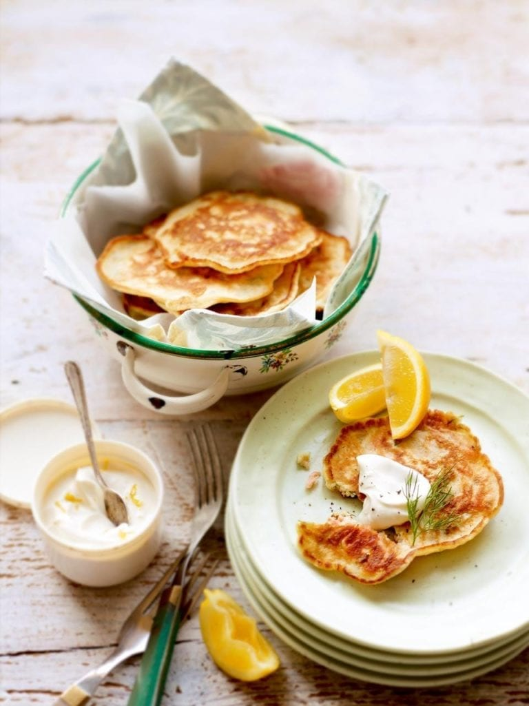 Smoked salmon and dill drop scones with lemon crème fraîche