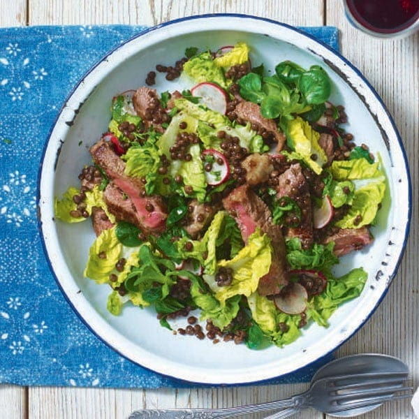 Warm beef and lentil spring salad