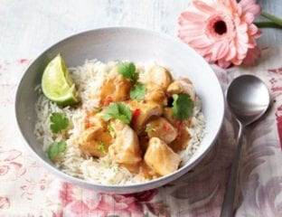 Thai-style chicken curry with basmati rice