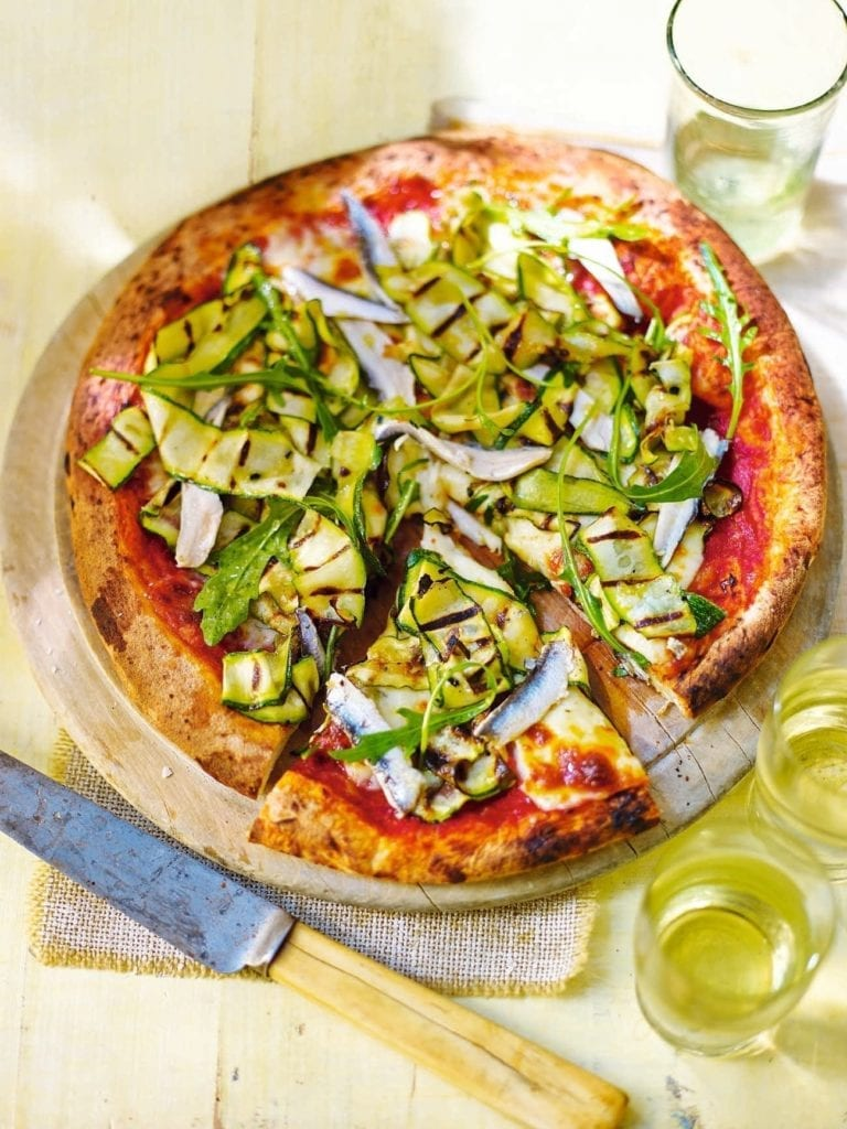 Courgette, marinated anchovy and rocket pizza