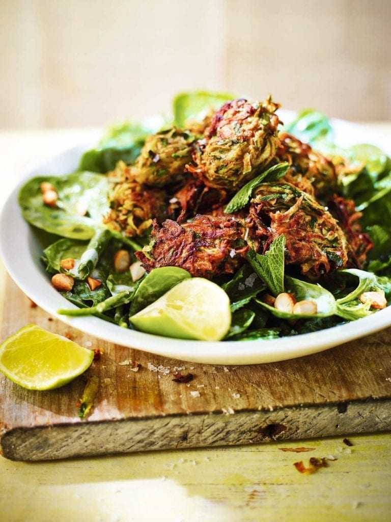 Courgette bhajis with salad and buttermilk dressing