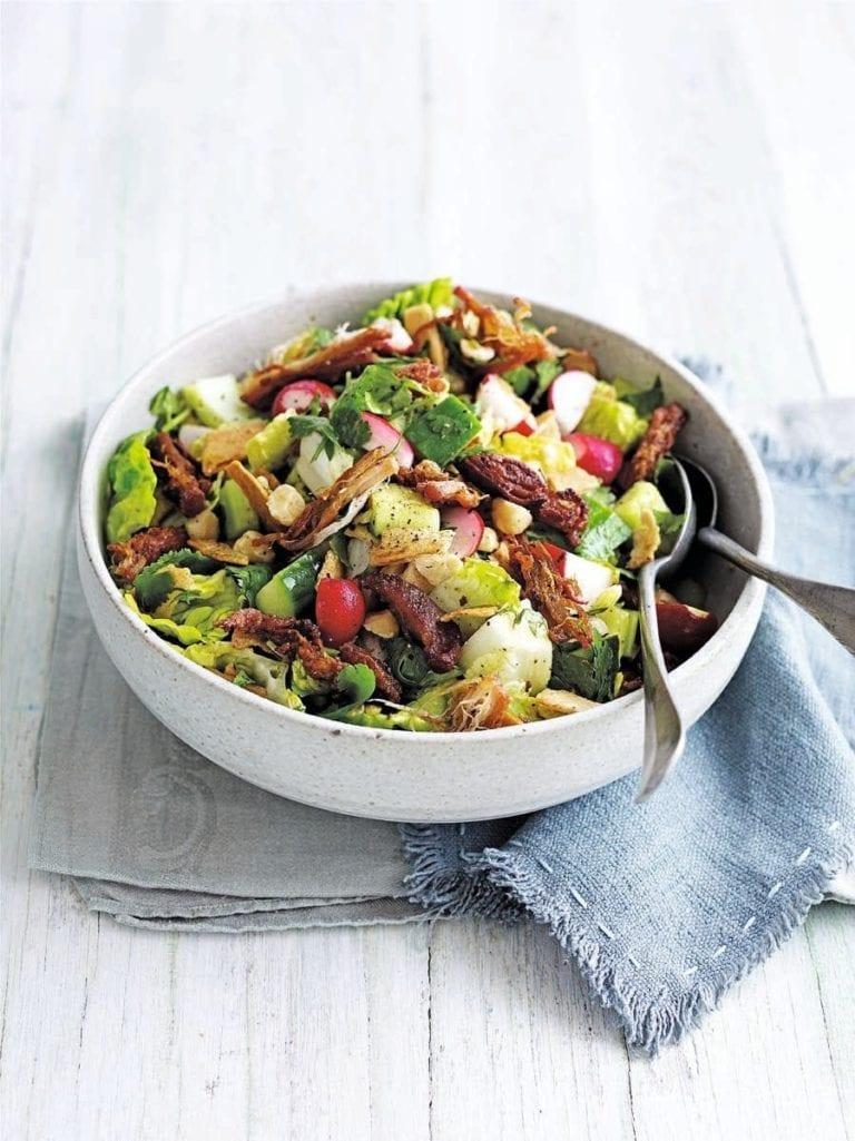Warm cajun-style pork salad