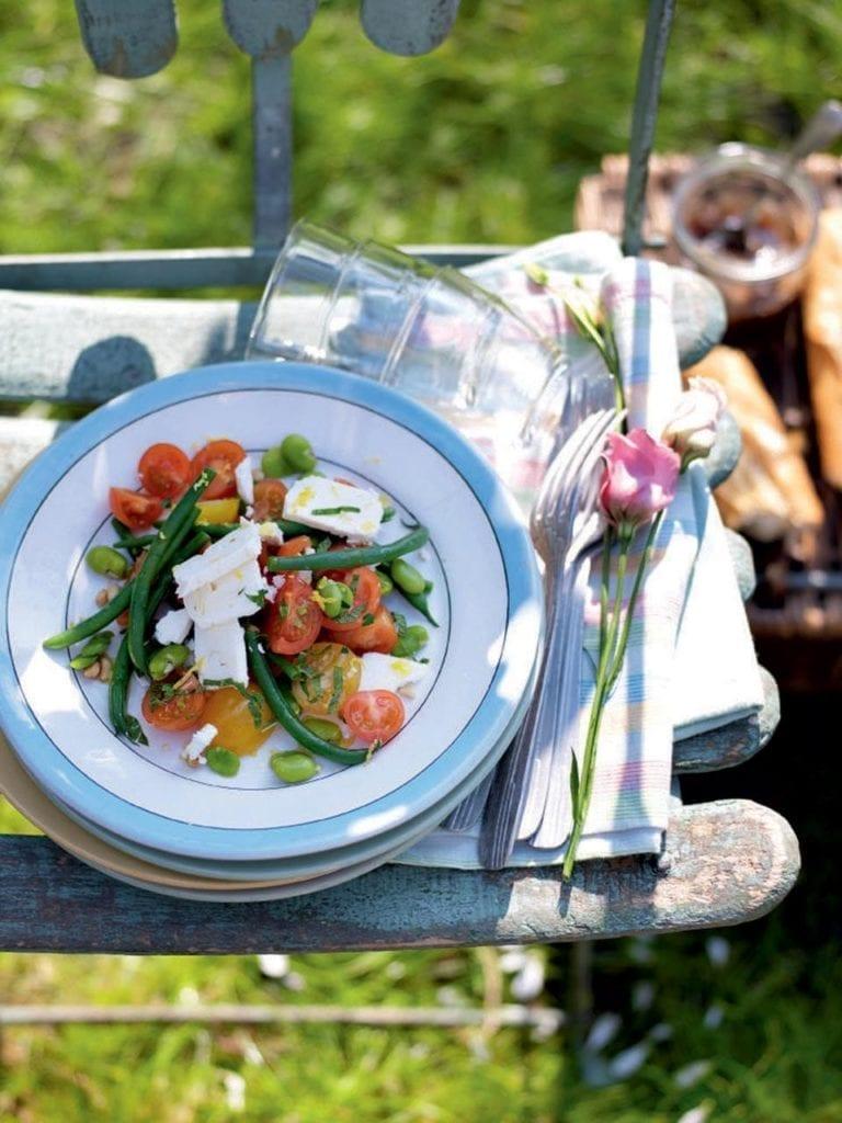 Mixed bean, tomato and feta salad