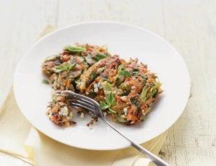 Asparagus, sweet potato and feta fritters