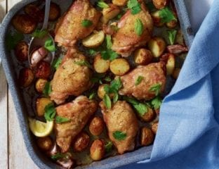 Roast chicken with herbs and new potatoes