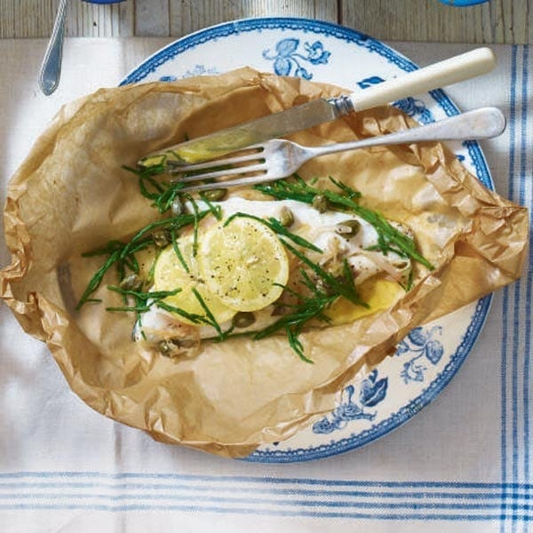 Fish parcels with lemon, capers and samphire