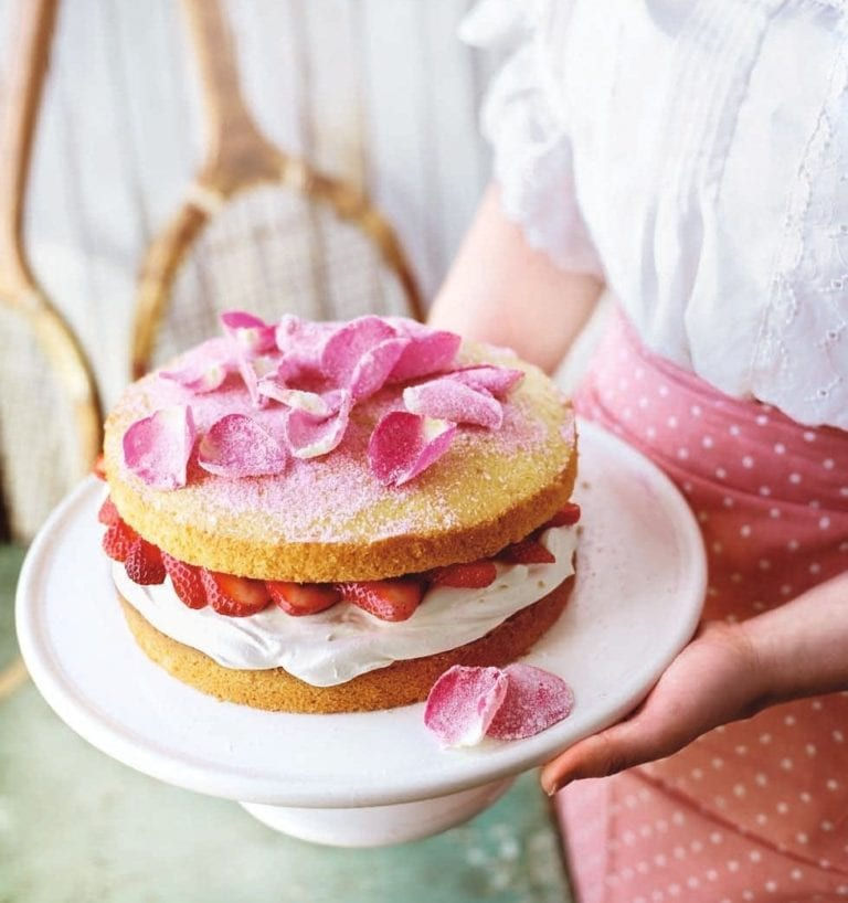 Strawberry and rose victoria sponge sandwich