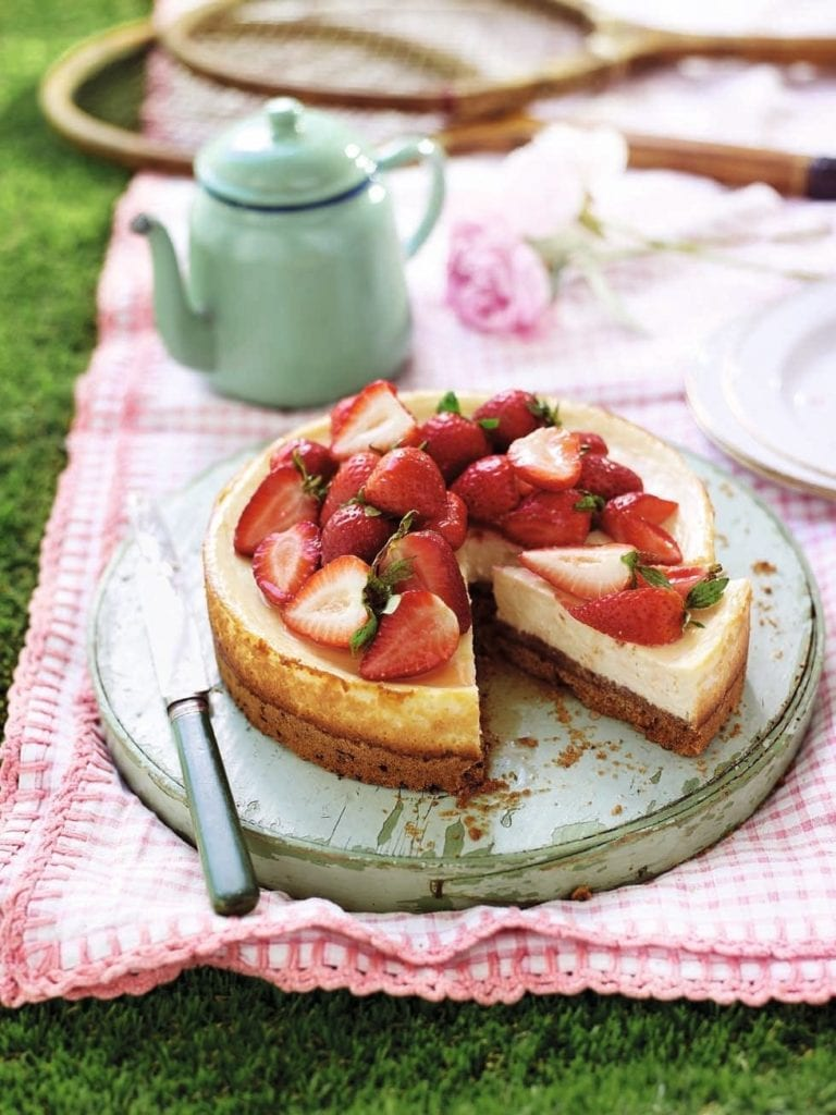 Strawberry and vanilla baked cheesecake
