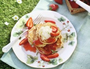Strawberry and ricotta pancakes