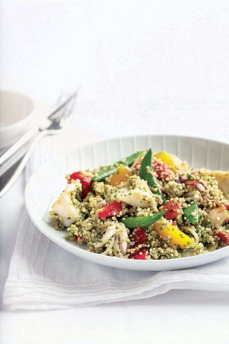 Roasted red pepper, squid and quinoa salad