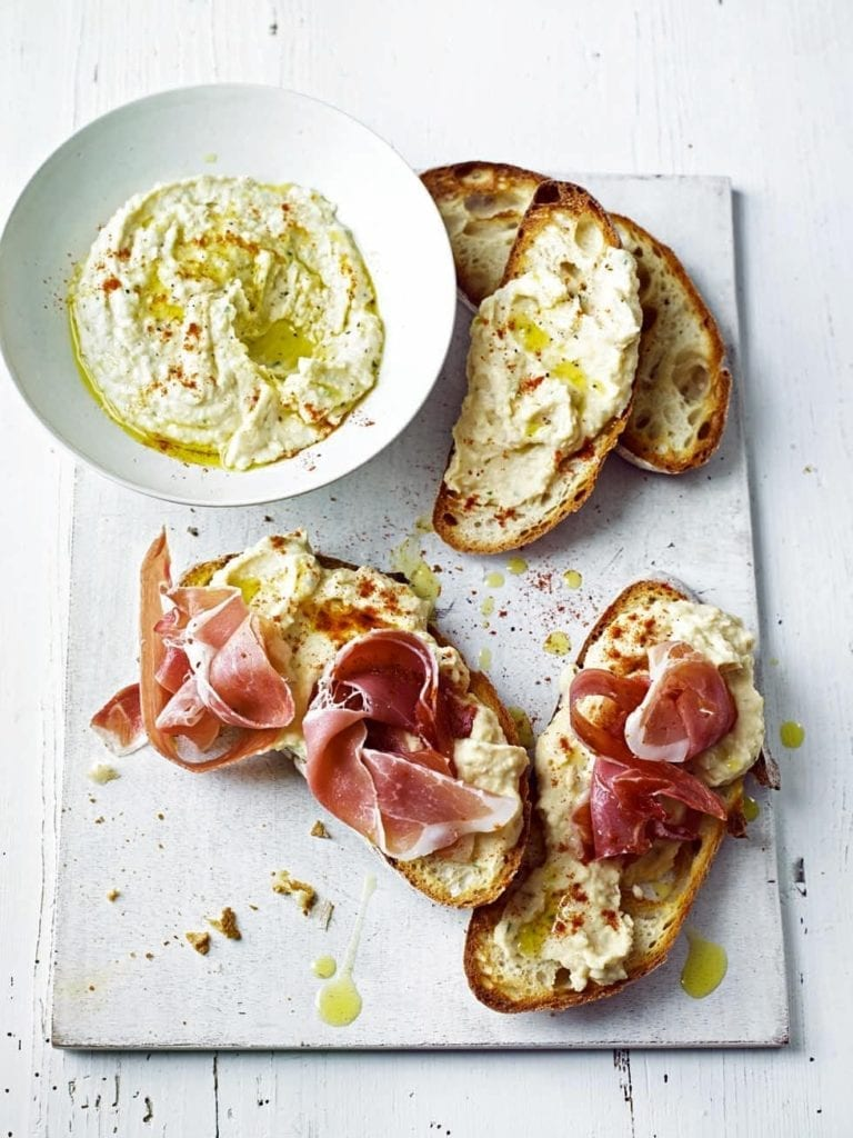 Smoky puréed butter beans on toast with cured ham