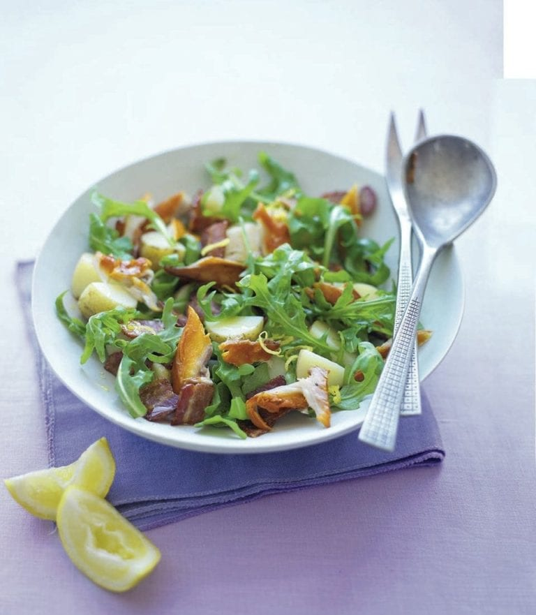 Warm new potato, rocket and smoked mackerel salad
