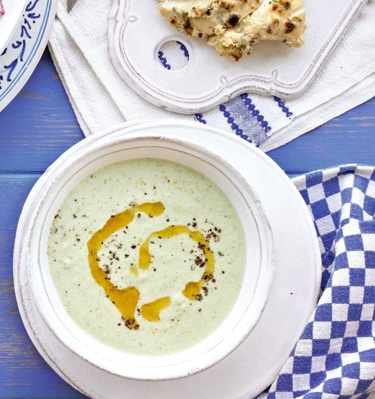 Chilled yogurt, chilli and cucumber soup