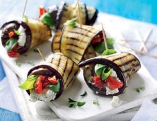 Feta, yogurt and aubergine rolls