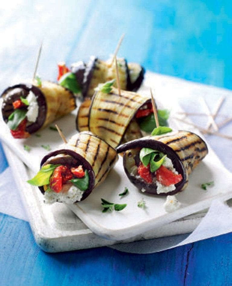 Feta, yogurt and aubergine rolls