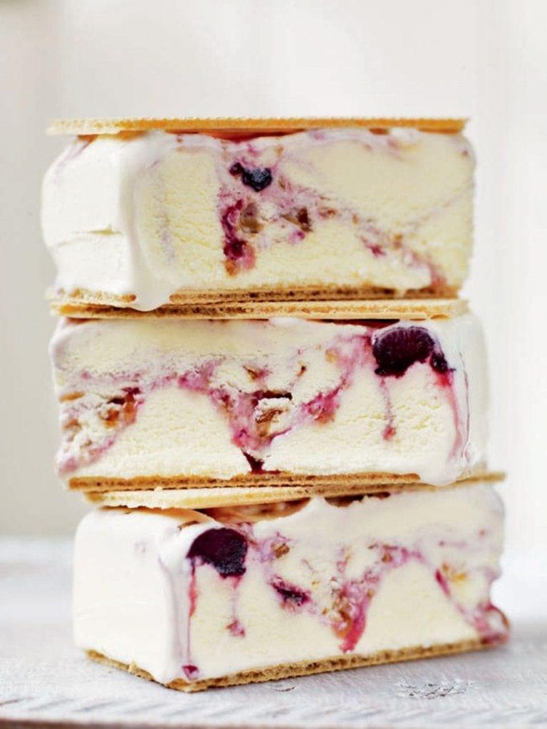 Cherry ripple ice cream bars