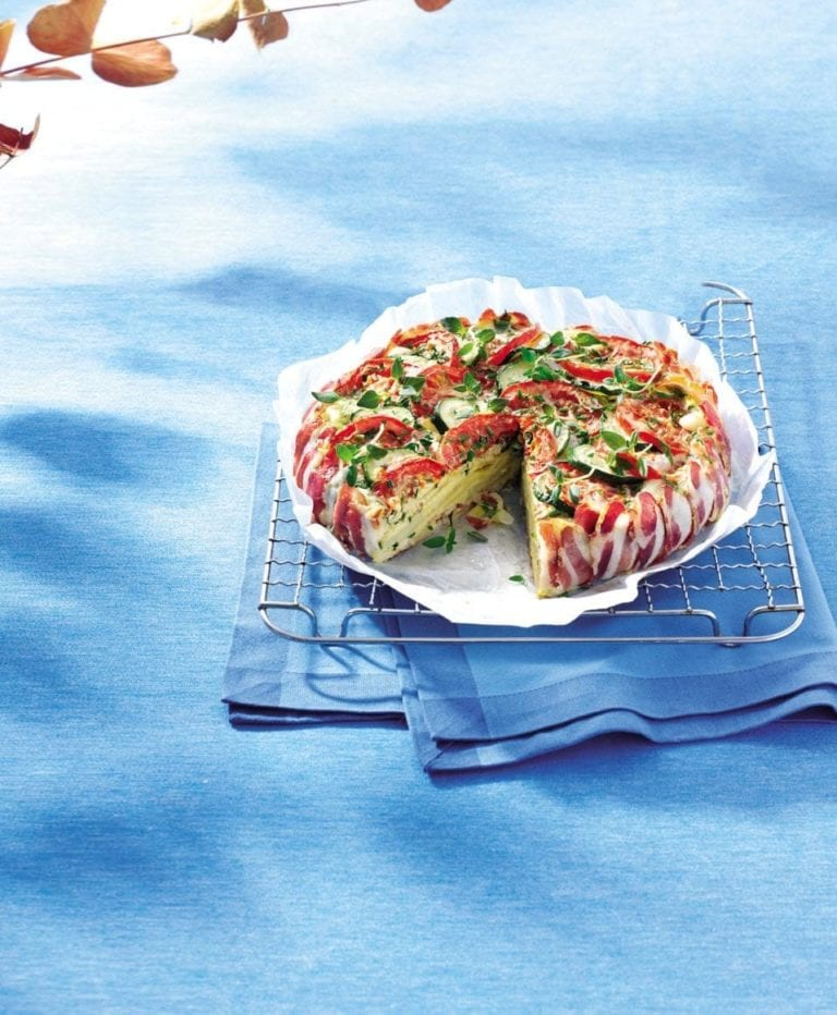 Pancetta-wrapped tomato, courgette and Emmental tart
