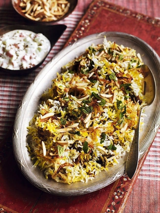 Green chicken biryani