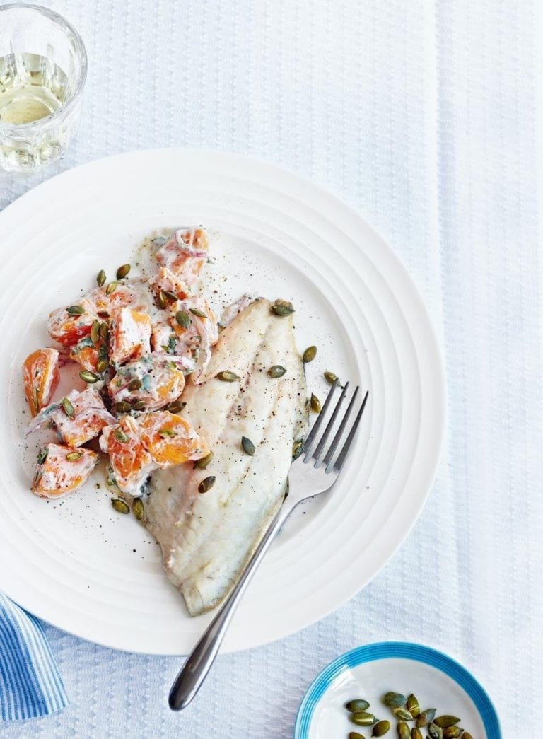 Grilled sea bream with sweet potato salad