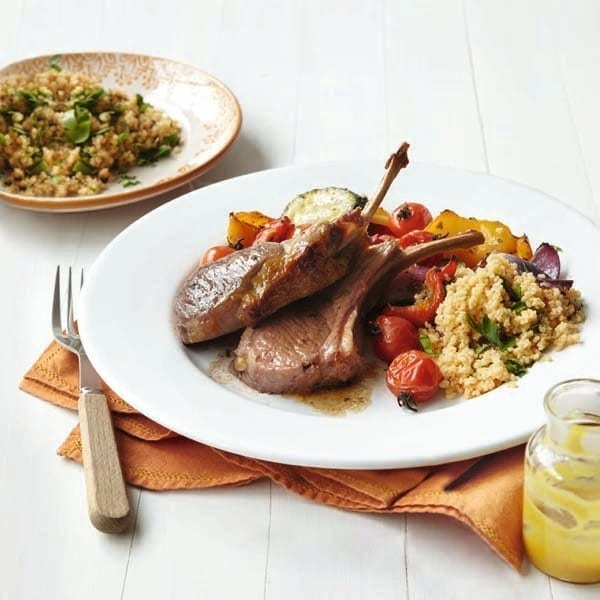 Honey-mustard lamb with vegetables and couscous